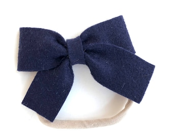 Navy blue baby headband - nylon headbands, baby headband bows, baby girl headbands, baby bows, baby girl, bows