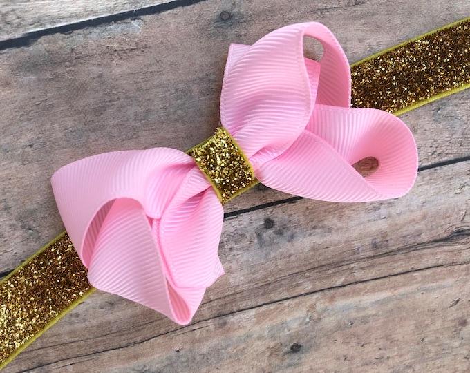 Pink & gold baby headband - baby bow headbands, newborn headbands, baby bows, baby headband bows, baby girl headband