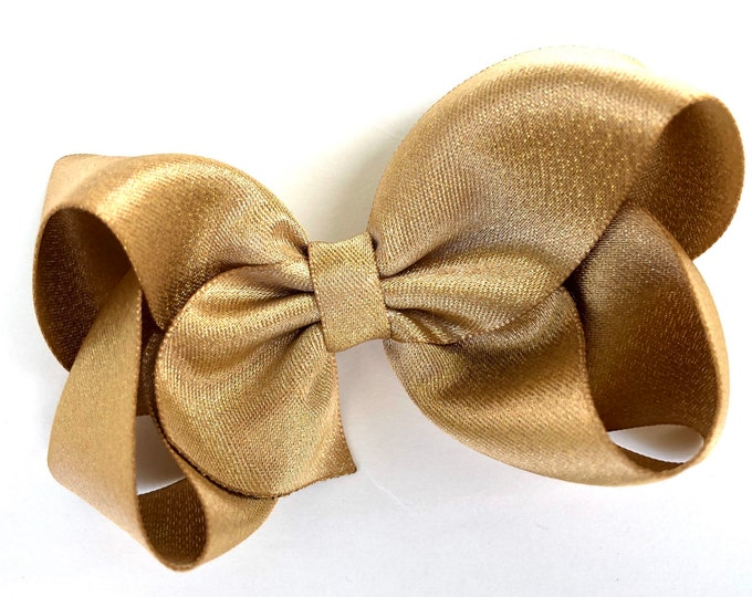 Metallic gold hair bow - 4 inch gold bow, gold shimmer bow, boutique bows, girls hair bows, toddler bows, gold bows, gold hair bows