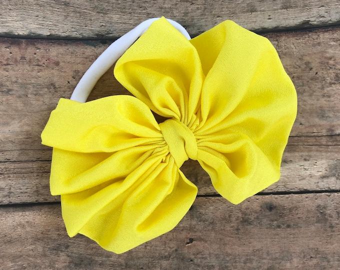 Yellow baby headband - nylon headband, baby girl headband, baby headband bows, newborn headband, bow headbands, baby bows