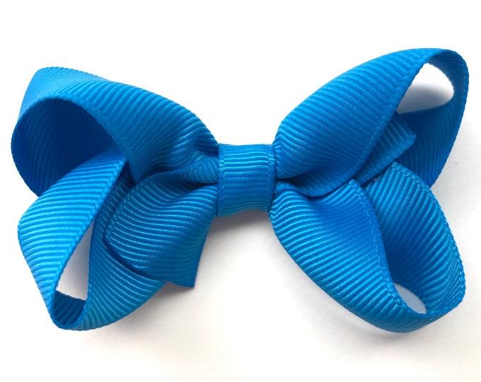 Aegean blue hair bow - hair bows for girls, baby bows, toddler hair bows, 3 inch hair bows