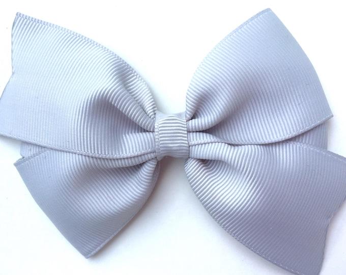 Light gray hair bow - hair bows, hair clip, bows for girls, baby bows, toddler hair bows, pigtail bows, girls bows