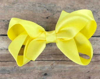 Satin hair bow - lemon yellow hair bow, satin bows, hair bows for girls, baby bows, toddler hair bows