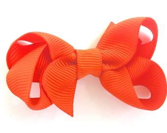 Orange baby bow - hair bows, baby hair bows, pigtail bows, hair bows for girls, toddler hair bows