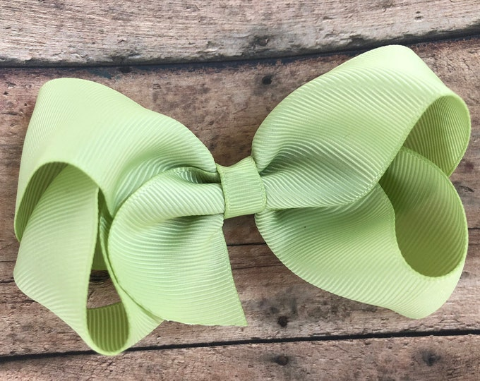 Lime juice hair bow - hair bows for girls, boutique bows, toddler bows, big hair bows, 4 inch hair bows