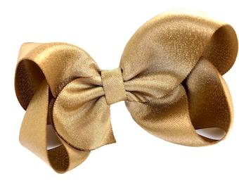 Metallic gold hair bow - 4 inch gold bow, gold shimmer bow, boutique bows, girls hair bows, toddler bows, gold bows