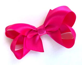 Satin hair bow - hot pink hair bows, bows for girls, baby bows, satin bows, toddler bows, 3 inch hair bows