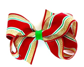 Christmas hair bow - red, green & gold hair bow, hair bows, girls bows, baby bows, girls hair bows, red hair bows, red bows, pinwheel bows