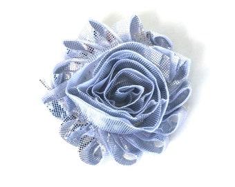 Flower hair clip - Silver hair clips, hair bows, hair bows for girls, baby bows, hair clips for girls, baby hair clips, bows