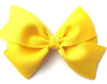 Yellow hair bow - yellow bows, hair bows, bows for girls, girls bows, toddler hair bows, 4 inch hair bows