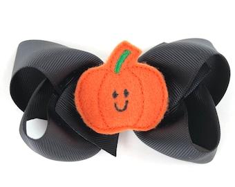Halloween hair bow - pumpkin bows, hair bow, 4 inch bows, boutique bows, girls hair bows, halloween bows, toddler hair bows