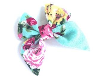 Floral bow - sailor bows, hair bows, nylon headbands, baby hair bows, girls hair bows, baby bows, fabric hair bows