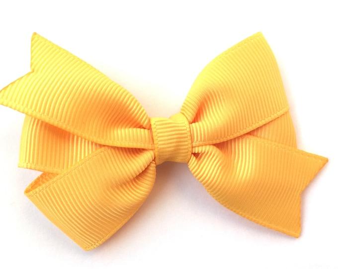 Yellow gold hair bow - hair bows, bows, hair bows for girls, girls hair bows, baby bows, toddler hair bows, pigtail bows, hairbows