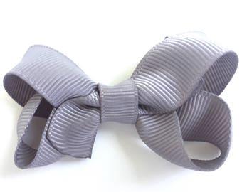 Gray hair bow - hair bows for girls, baby bows, baby girl bows, baby hair clips, pigtail bows