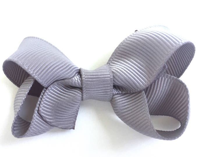 Gray hair bow - hair bows for girls, baby bows, baby girl bows, baby hair clips, pigtail bows