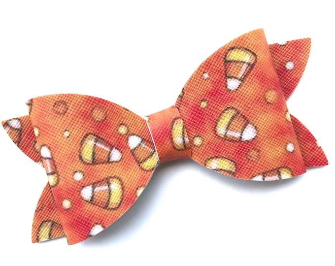 Halloween hair bow - faux leather bow, hair bows, bows, hair bows for girls, baby bows, baby hair bows, leather bows, hair clips, hairbows