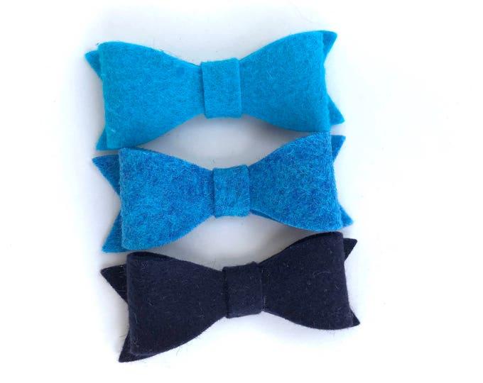 Set of 3 blue felt hair bows - felt bows, hair bows, bows for girls, hair clips for girls, baby bows, toddler hair bows