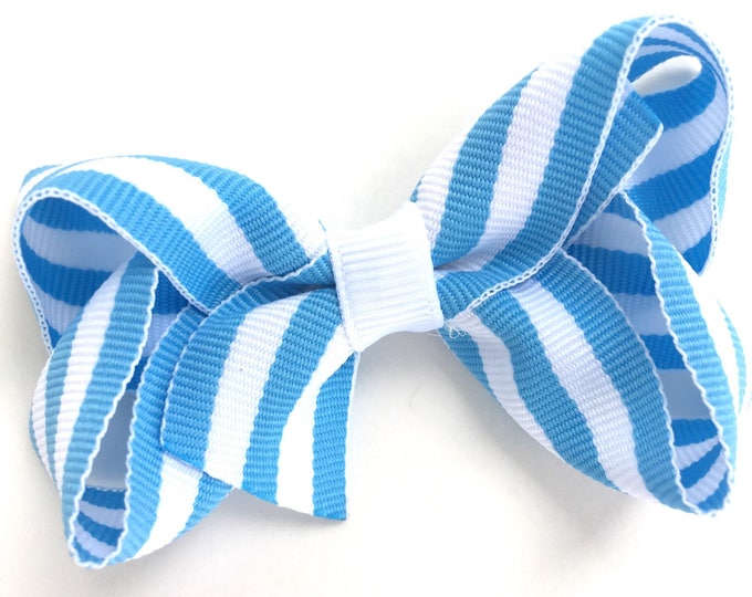 Light blue hair bow - hair bows, boutique bows, girls hair bows, toddler bows, girls bows, hair clips, pigtail bows, hair bow, bows