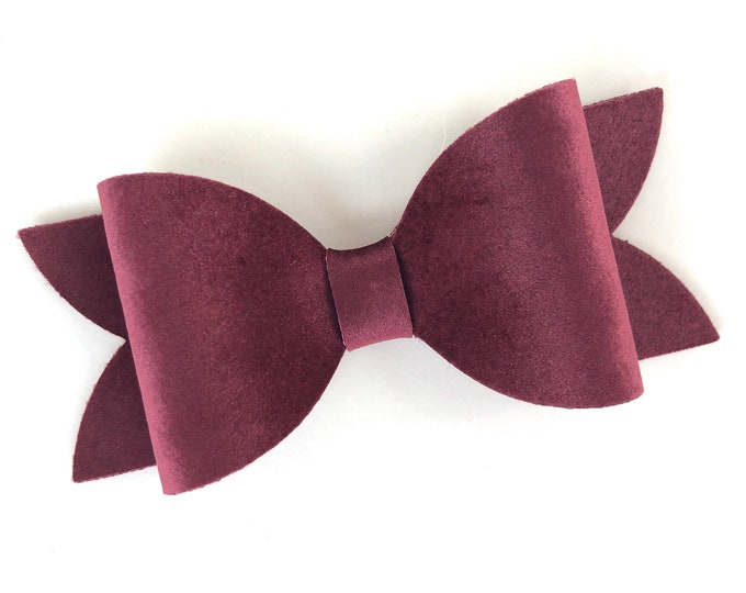 Burgundy hair bow - velvet hair bow, hair bows, hair clips, bows for girls, hairbows, girls hair bows, toddler bows, velvet bows