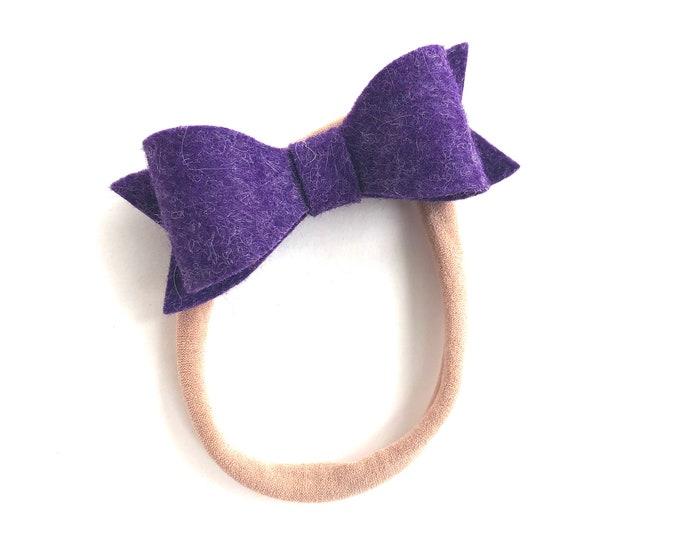 Purple baby headband - nylon headbands, baby girl headband, baby headband bows, newborn headband, baby bows