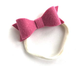 Pink baby headband - nylon headband, baby girl headband, baby headband bows, newborn headband, baby bows, baby girl