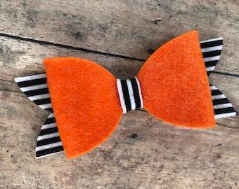 Halloween hair bow - felt hair bow, hair bows, bows, hair bows for girls, baby bows, baby hair bows, felt bows, hair clips, hairbows