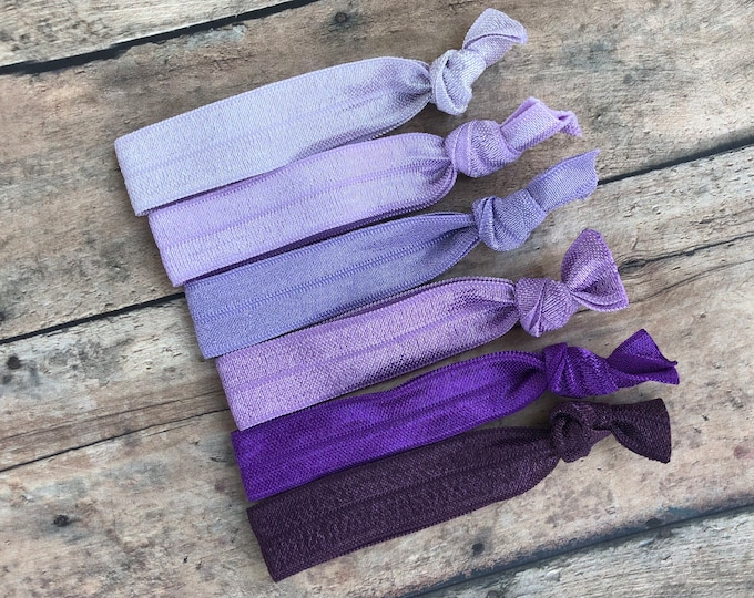 Set of 6 purple elastic hair ties - hair ties, ponytail holders, no crease hair ties, hair accessories