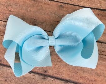 Extra large light blue hair bow - 6 inch hair bows, hair bows, bows for girls, cheer bows, big hair bows, toddler hair bows