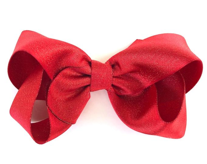 Red gold hair bow - hair bows, bows, hair clips, hair bows for girls, baby bows, baby hair bows, girls hair bows, hairbows, toddler bows