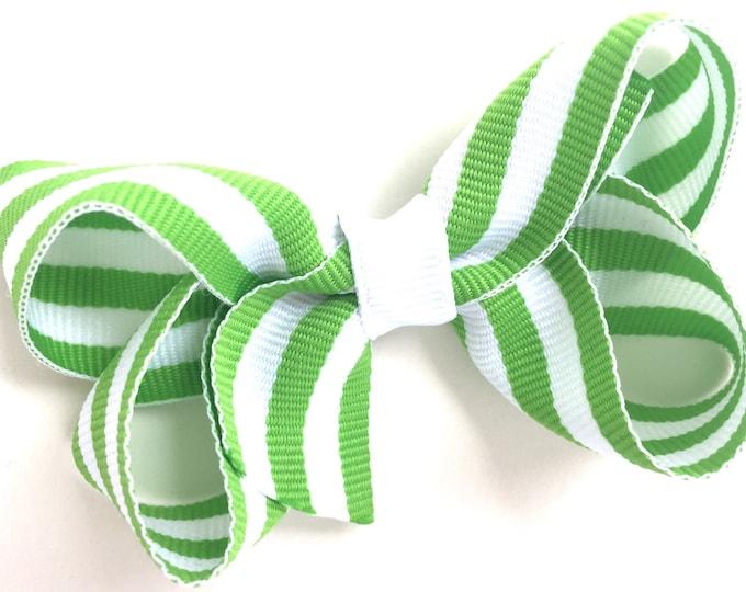 Lime green hair bow - hair bows for girls, toddler hair bows, baby bows, boutique hair bows, pigtail bows
