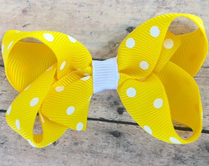 Yellow hair bow - hair bows, baby bows, pigtail bows, girls bows, toddler hair bows, 3 inch hair bows