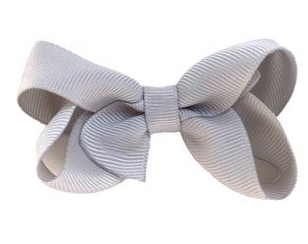Light gray hair bow - hair bows, baby bows, bows for girls, pigtail bows, baby hair bows, girls hair bows, toddler bows