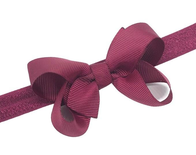 Burgundy baby headband - baby headband bows, baby girl headbands, baby bow headbands, newborn headbands, baby bows