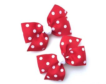 Red polka dot pigtail bows, hair bows, toddler bows, pigtail bows, baby bows, girls hair bows, hair clips, small bows, baby hair bows
