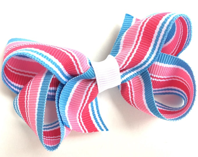 Pink & blue hair bow - hair bows for girls, baby bows, girls hair bows, pigtail bows, toddler bows, boutique bows