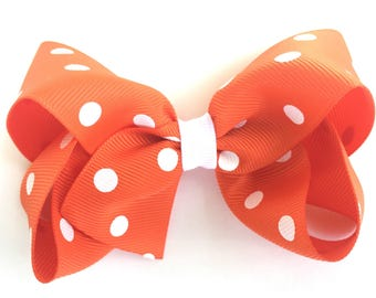 Orange Hair bow - polka dot hair bows, hair bows for girls, toddler hair bows, boutique bows, 4 inch hair bows