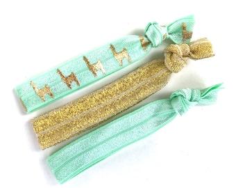 Set of 3 elastic hair ties - gold hair ties, llama hair ties, ponytail holders, no crease hair ties, hair accessories