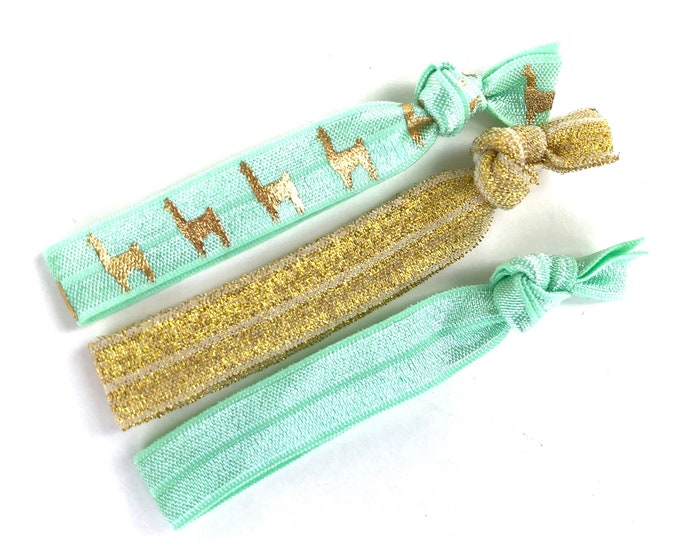 Set of 3 elastic hair ties - gold hair ties, llama hair ties, ponytail holders, no crease hair ties