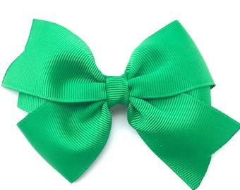 Green hair bow - hair bows, hair bows for girls, hair clips, girls hair bows, pigtail bows, toddler hair bow, baby bows, hairbows