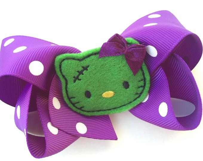 Halloween hair bow - halloween bows, hair bows, 4 inch bows, boutique hair bows, girls hair bows, toddler hair bows, big hair bows, hairbows