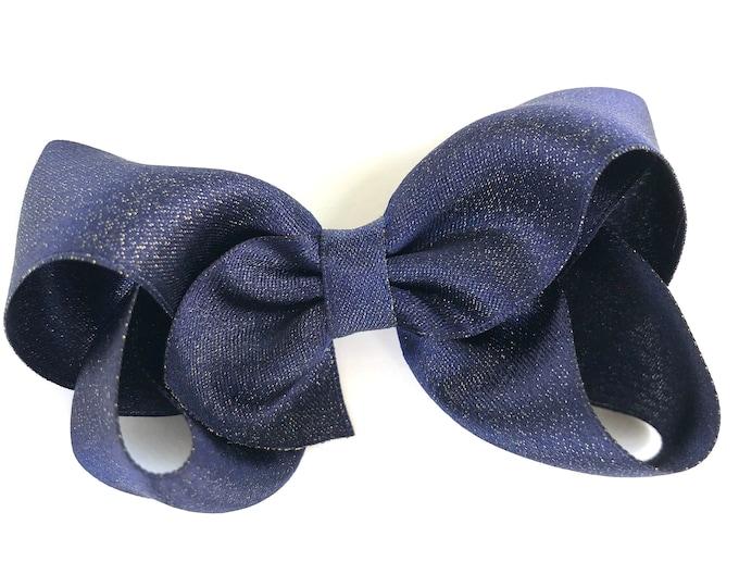 Navy gold hair bow - navy bows, hair bows, bows, hair clips, hair bows for girls, baby bows, girls bows, hairbows, satin bows, toddler