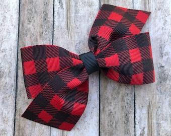 Buffalo plaid hair bow - hair bows for girls, girls bows, baby bows, plaid bows, Christmas bows, toddler bows, boutique hair bows