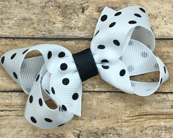 Polka dot hair bow - hair bows for girls, toddler hair bow, baby bows, pigtail bows, 3 inch hair bows