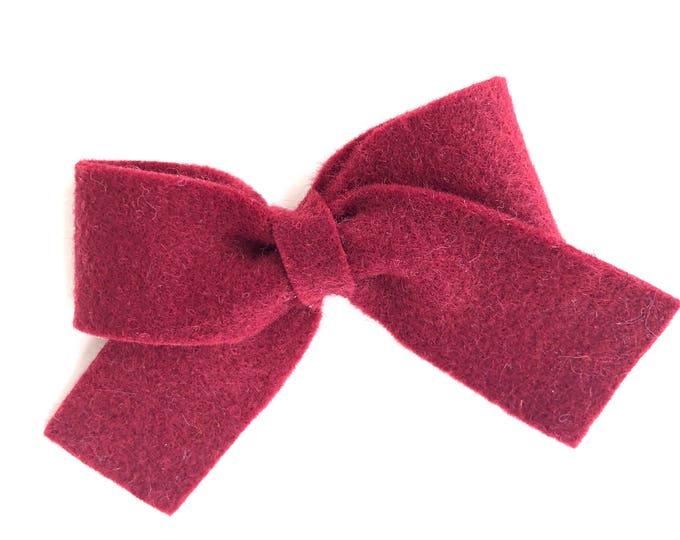 Burgundy hair bow - felt bow, hair bows, bows for girls, toddler hair bows, baby bows, felt hair bows