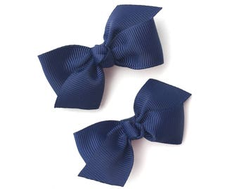 Navy blue pigtail bows, navy blue bows, hair bows, bows, hair clips, baby bows, hair bows for girls, baby girl bows, toddler hair bows