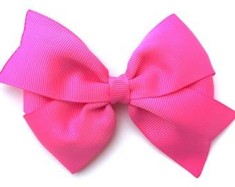 Bright pink hair bow - hair bows, bows for girls, toddler bows, baby bows, pigtail bows, 4 inch hair bows