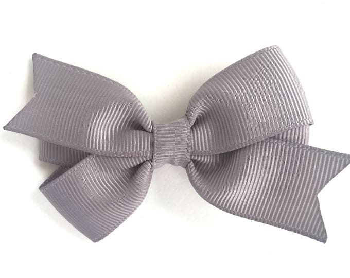 Gray hair bow - hair bows for girls, baby bows, pigtail bows, toddler hair bows, 3 inch hair bows