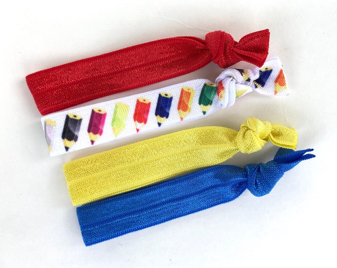 Elastic hair ties - hair ties, back to school hair ties, elastic ties, no crease hair ties