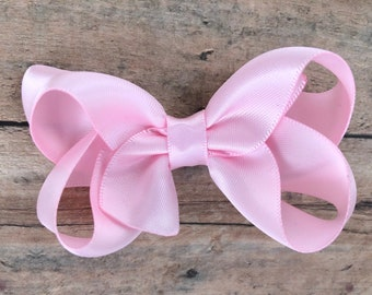 Light pink satin hair bow - hair bows, bows for girls, baby bows, satin bows, toddler hair bows