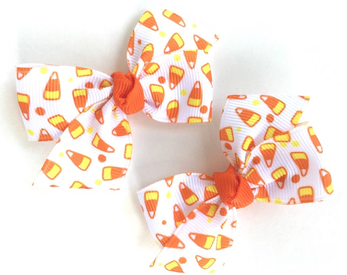 Halloween hair bows - candy corn pigtail bows, candy corn bows, halloween bows, baby bows, toddler bows, small bows, pigtail bows, hairbows